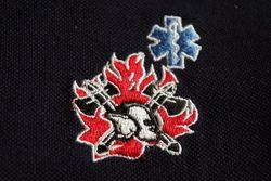 sweater met logo oude vlam en nieuwe helm + star of life blauw