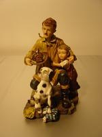 Brandweerman met zoon en hond