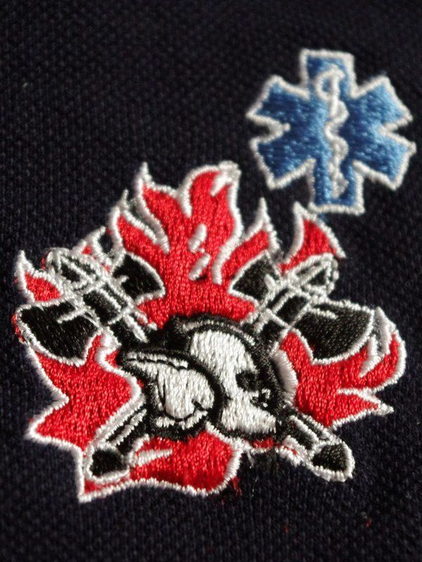 polosweater met logo oude vlam en nieuwe helm + star of life blauw